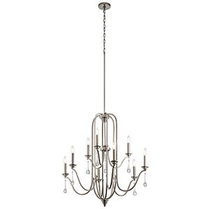 Karlee Classic Pewter 34-Inch Nine-Light Two-Tier Chandelier