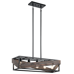 Fulton Cross Black 37-Inch Five-Light Reclaimed Wood Island Pendant