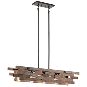 Cuyahoga Mill Anvil Iron 44-Inch Five-Light Linear Reclaimed Wood Pendant