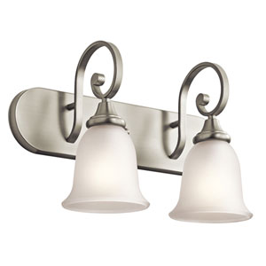 Monroe Two-Light Brushed Nickel Bath Fixture
