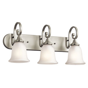 Monroe Three-Light Brushed Nickel Bath Fixture