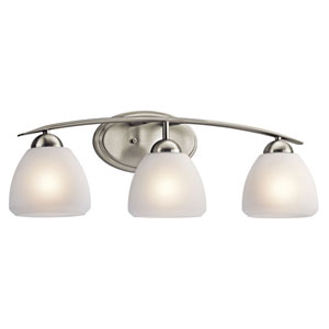 Calleigh Brushed Nickel Three-Light Bath Fixture