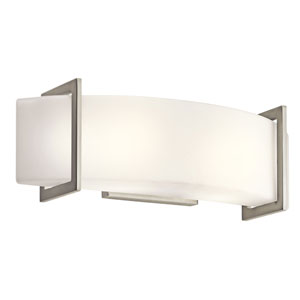 Crescent View Brushed Nickel Two-Light Bath Fixture