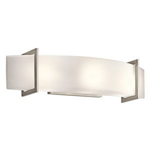Crescent View Brushed Nickel Three-Light Bath Fixture