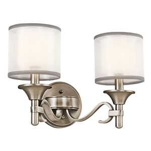 Lacey Antique Pewter Two-Light Bath Fixture
