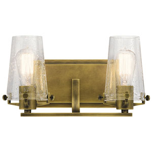 Alton Natural Brass 14-Inch Two-Arm Bath Light