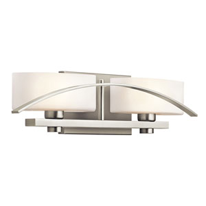 Suspension Brushed Nickel Two-Light Wall Mounted Bath Fixture