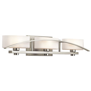 Suspension Brushed Nickel Three-Light Wall Mounted Bath Fixture