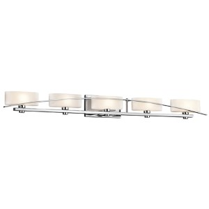 Suspension Chrome Five-Light Bath Vanity Fixture