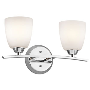Granby Chrome Two-Light Wall Mounted Bath Fixture