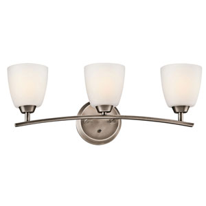 Granby Brushed Pewter Three-Light Bath Fixture