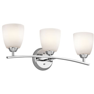 Granby Chrome Three-Light Wall Mounted Bath Fixture