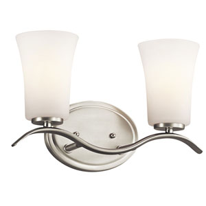 Armida Brushed Nickel Two-Light Wall Mounted Bath Fixture