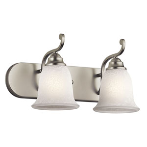 Camerena Two-Light Brushed Nickel Bath Fixture