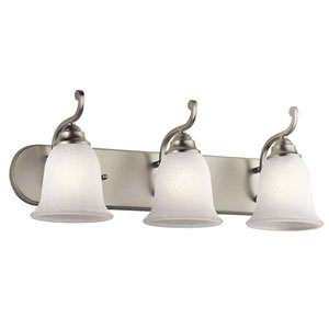 Camerena Three-Light Brushed Nickel Bath Fixture