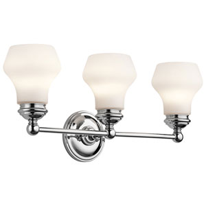 Currituck Chrome Three Light Wall Bath Bar
