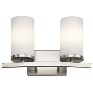 Crosby Brushed Nickel 15-Inch Two-Arm Bath Light