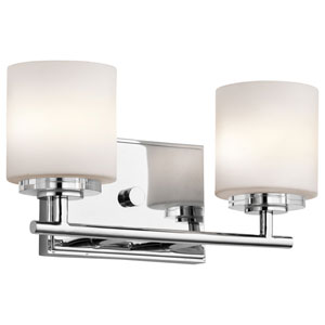 O Hara Chrome Two Light Wall Bath Bar