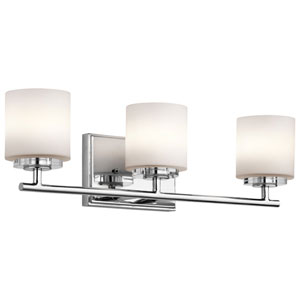 O Hara Chrome Three Light Wall Bath Bar