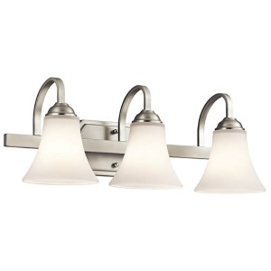 Keiran Brushed Nickel Three-Light Bath Vanity Fixture