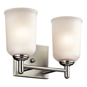 Shailene Brushed Nickel Two-Light Bath Bracket