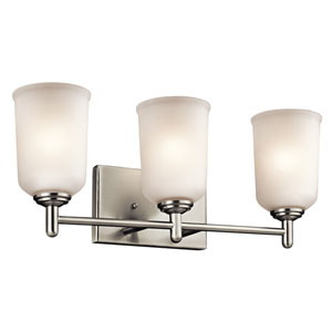 Shailene Brushed Nickel Three-Light Bath Bracket