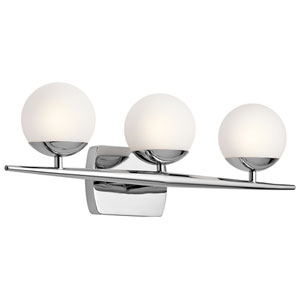 Jasper Chrome Three-Light Bath Sconce