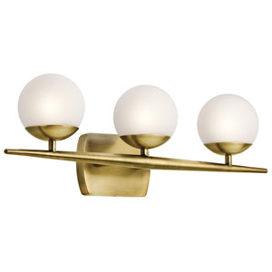 Jasper Natural Brass Three-Light Bath Sconce