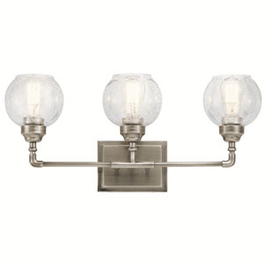 Niles Antique Pewter 24-Inch Three-Arm Bath Light