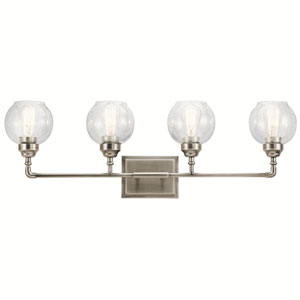 Niles Antique Pewter 33-Inch Four-Arm Bath Light