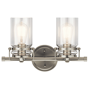 Brinley Brushed Nickel 16-Inch Two-Light Bath Light
