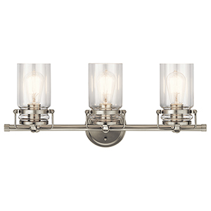 Brinley Brushed Nickel 24-Inch Three-Light Bath Light