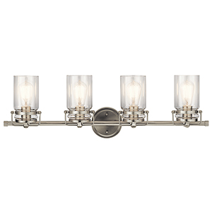 Brinley Brushed Nickel 32-Inch Four-Light Bath Light