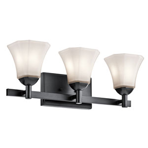 Serena Black Three-Light Bath Sconce