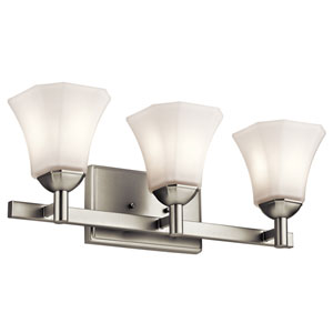 Serena Brushed Nickel Three-Light Bath Sconce