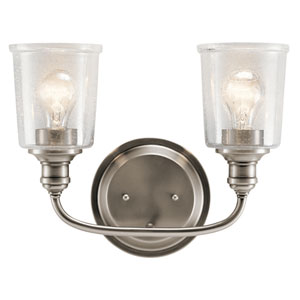 Waverly Classic Pewter 15-Inch Two-Arm Bath Light