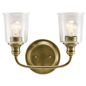 Waverly Natural Brass 15-Inch Two-Arm Bath Light