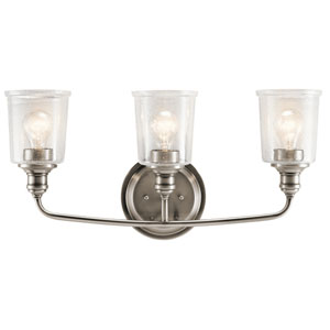 Waverly Classic Pewter 24-Inch Three-Arm Bath Light