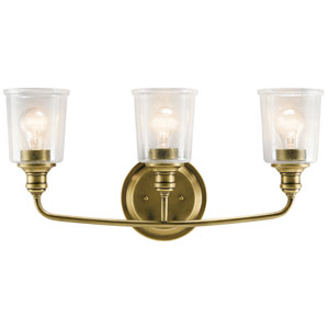 Waverly Natural Brass 24-Inch Three-Arm Bath Light