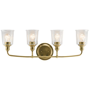Waverly Natural Brass 33-Inch Four-Arm Bath Light