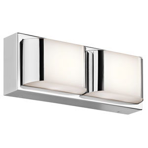 Nita Chrome 12-Inch Two-Light LED Linear Bath Bar