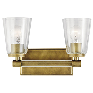 Audrea Natural Brass 14-Inch Two-Light Bath Light