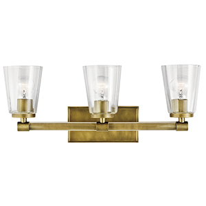 Audrea Natural Brass 24-Inch Three-Light Bath Light