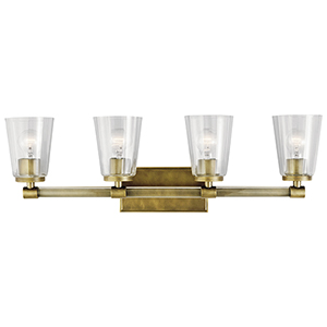 Audrea Natural Brass 30-Inch Four-Light Bath Light