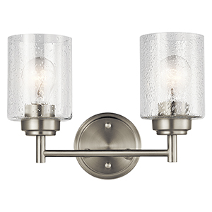 Winslow Brushed Nickel 13-Inch Two-Light Bath Light