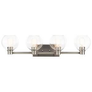 Harmony Brushed Nickel 34-Inch Four-Light Bath Light