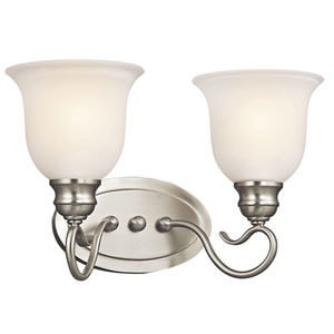 Tanglewood Brushed Nickel Two-Light Wall Mounted Bath Fixture