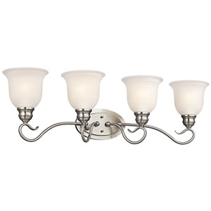 Tanglewood Brushed Nickel 31-Inch Energy Star Four-Arm Bath Light