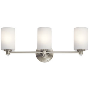 Joelson Brushed Nickel Three-Light Bath Sconce