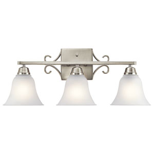 Bixler Brushed Nickel LED Three-Light Bath Sconce
